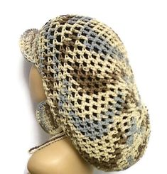 MADE TO ORDER Crochet Earth Tones Slouch hat/ Tam/ Dreadlock hat w brim and drawstring free crochet earrings Blue Brown and Tan Cotton Free Crochet, Knit Crochet, Crochet Hats, Crochet Newsboy Hat, Slouch Hats, Beanie Hats, Types Of Hats, News Boy Hat, African American Hairstyles