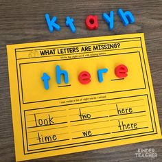Sight word activity - Here's a fun partner activity! One student write a sight word with missing letters and the another student solves it! Sight Words List, Sight Word Games, Sight Word Activities, Shape Activities, Phonics Activities, Classroom Activities, Activity Centers, Literacy Centers, Math Stations