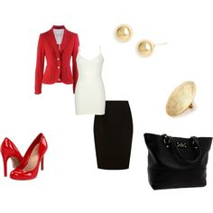 5/15/17 Black skirt, LE white tank, red blazer, black pumps, gold knot earrings (Polyvore)