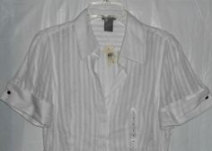 ANN TAYLOR Sheer White Stripe Women Sz 4 Top/Blouse Fitted Button Up S/S  NWT #AnnTaylor #ButtonDownShirt #Career