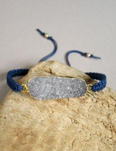 Blue Druzy Bracelet Drusy Druzy Quartz Macrame by julianneblumlo