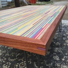 Recycled skateboard coffee table by Jeremy Vessels