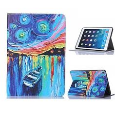 Oil Painting Boat Design Case with Stand for iPad Air 2 / iPad mini 3