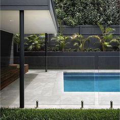 Glass fence around pool House Exterior, Exterior Design, Swimming Pool Designs, Pool Houses, Exterior Wall Cladding, House Designs Exterior, Glass Pool Fencing, Outdoor Design, Glass Pool