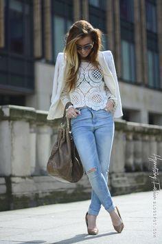 Hypnotizing Fashion - street style, blog stylizacje i moda: WIOSENNE STYLIZACJE - koronka i biel