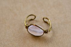 Rose Quartz Bronze Color Wire Wrap Ear Cuff by NovelDesigns, $5.00