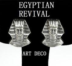 Vintage Art Deco Egyptian Revival Sterling Silver Earrings
