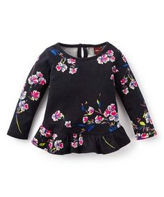 This Jet Black & Pink Ruffle Top - Infant is perfect! #zulilyfinds