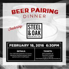 Townhall Langley Presents The Steel & Oak Craft Beer Pairing Dinner