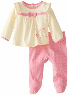 ABSORBA Baby-Girls Newborn Tea Cup Footed Pant Set, Yellow/Pink, 0-3 Months absorba