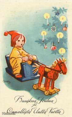 Martta Wendelin Scandi Christmas, Old Christmas, Vintage Christmas Cards, Holiday Cards, Xmas, Old Toys, Scottie, Jingle Bells, Christmas Inspiration
