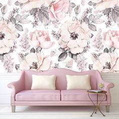 Dusty Rose Wallpaper Vintage Floral Nursery Wallpaper Watercolor Baby Kids Decal Sweet Room Wall Self-adhesive Babyroom