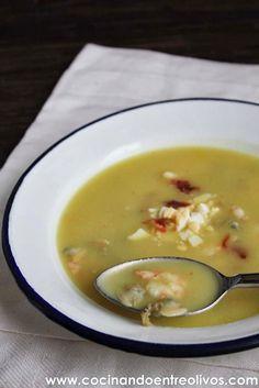 Cocinando entre Olivos: Sopa al cuarto de hora o Sopa de patatas, gambas y almejas. Receta paso a paso.
