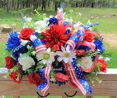 FREE SHIPPING, Patriotic Cemetery Flower Saddle, Artificial Cemetery Flowers, Large Tombstone Topper, Memorial Day Saddle, Headstone Topper