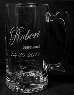 Engraved / etched glass mugs as groomsmen gifts. $10.95 affordable but very expensive looking