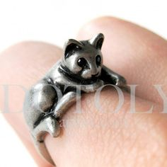 $10 Miniature Kitty Cat Ring in Silver Sizes 5 to 9 available