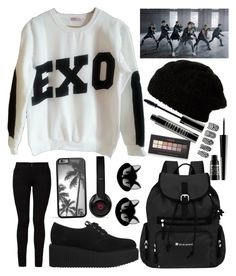 """""""EXO- Kpop"""" by skittlebum ❤ liked on Polyvore featuring Barbara I Gongini, Karl Lagerfeld, Sherpani, Beats by Dr. Dre, Erstwilder, Lord & Berry, Forever 21, EXO and mama"""