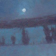 'Moon Over Union Farm' 6x6 Oil  David Sharpe