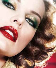 Green gold eye and red lip