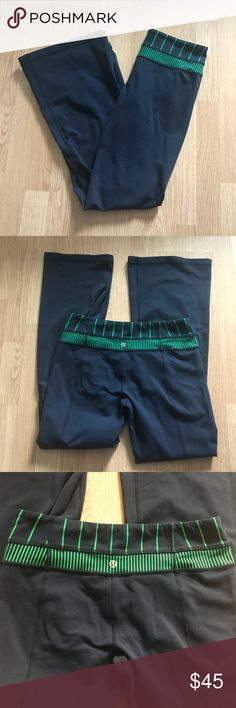 Lululemon Pants Size 8 Lululemon Pants Size 8  Navy blue Green and navy at waist band  Flare leg  Gently used in good condition   *please note* No Modeling, no trades, no transactions off of Posh   Thanks for checking out my closet. lululemon athletica Pants Track Pants & Joggers