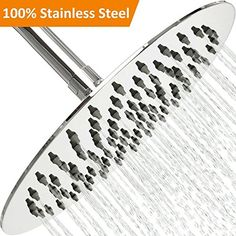 14882fb3ba1 Rain Shower Head Stainless Steel –  NEW High Pressure 8 In Rainfall Bathroom  Powerful Spray Shower Heads – Best High Flow Fixed Luxury Chrome SPA  Showerhead ...