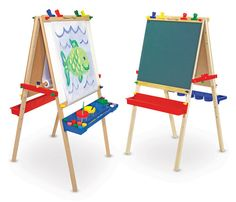 Melissa & Doug Deluxe Wooden Standing Art Easel (Arts & Crafts, Chalkboard, Dry-Erase Board, H × W × L , Great Gift for Girls and Boys - Best for 5 Year Olds and Up) Kids Art Easel, Art For Kids, Wooden Easel, Wooden Art, Wooden Toys, Fine Motor Skills Development, Paper Roll Holders, Melissa & Doug, Dry Erase Board