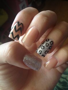 nude acrylic nails #chevron #glitter (this without the cheetah print)