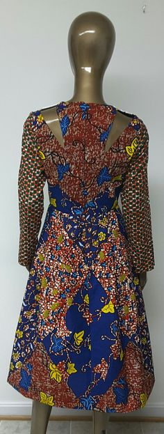 AYAWAX Collection. African Print Fitted Waist Dress. Pleats.