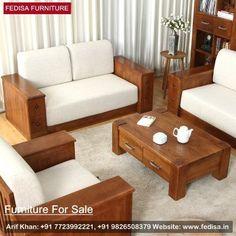 Wooden Sofa Set: simple wooden sofa sets for living room price, Buy Sofa Set Online Sofa Bed Design, Living Room Sofa Design, Home Room Design, Living Room Designs, Living Rooms, Wooden Living Room Furniture, Sofa Furniture, Wooden Sofa Set Designs, Wood Sofa