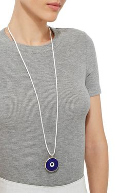 Large Navy Blue Evil Eye in White Cord Necklace by | Moda Operandi