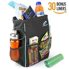Car Organizer BLAQ Leak Proof Car Trash Can Bundle with 30 Disposable Liners 13 x 5 x 9Inch Black and Aqua *** Click image for more details.