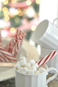 Hot chocolate with a soft peppermint stick. Christmas Open House, Christmas Kitchen, Christmas Goodies, Christmas Candy, Christmas Treats, Cabin Christmas, Christmas Morning, Winter Christmas, Christmas Holidays