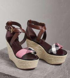 33c04696f26f Burberry Arkinson 90 Platform Wedge Purple House Check Pink Sandal Leather  7 37