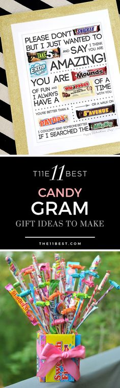 The BEST candy gram ideas ever! Notes written with candy. candy cards.