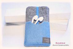 grau hellblau Hülle Handy Kopfhörer Filz für iPho von ❤formalana ANNA ROSENSCHÖN❤ made in Bonn mit ❤❤❤ auf DaWanda.com