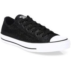 Converse Chuck Taylor All Star Stingray Low-Top Sneakers ($53) ❤ liked on Polyvore featuring shoes, sneakers, black, black low top sneakers, leather upper shoes, lace up shoes, converse trainers and black laced shoes