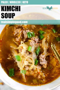Paleo, + Keto kimchi soup is an easy 25 minute dinner recipe! It's super quick to throw together and full of flavor for a great weeknight meal. It's also a great meal prep recipe for lunches to pack and take to work. Paleo Soup, Paleo Diet, Eating Paleo, Lunch Recipes, Paleo Recipes, Paleo Meals, Korean Recipes, Keto Diet Drinks, Whole 30 Recipes
