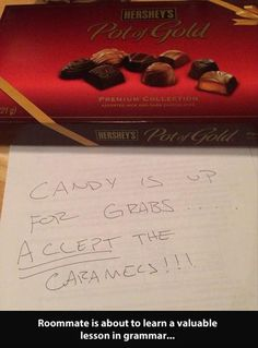 """Not knowing the difference between """"except"""" and """"accept"""" could cost you your caramels!"""