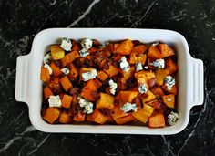Sweet Potato Bake with blue cheese & bacon!