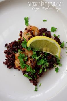 Krewetki z czarnym ryżem z bloga Słodkie Przyjemności