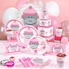 Sock Monkey Pink Baby Shower Party Supplies, 94431