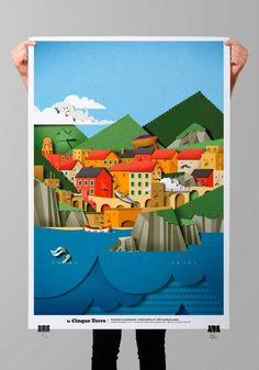 Papercut Illustration of Cinque Terre for a limited edition poster. Cut Paper Illustration, Graphic Design Illustration, Kirigami, Arte Pop Up, Paper Engineering, Up Book, Paper Artwork, Paper Quilling, Paper Cutting