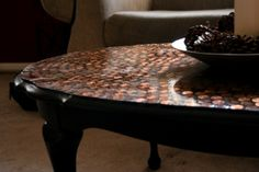 AWESOME table top refinish idea... pennies!