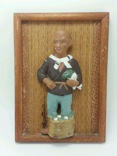 Vintage Ucagco Wood Framed Ceramic Wall Hanging.