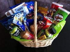 Hospital gift---Add magazines, puzzle books, personal hygine stuff, etc. Hospital Gift Baskets, Hospital Gifts, Boyfriend Gift Basket, Boyfriend Gifts, Craft Gifts, Diy Gifts, Homemade Gifts, Get Well Baskets, College Graduation Gifts