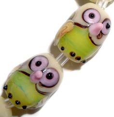 Handmade Lampwork Glass Beads Green Owls 15mm