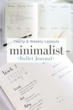 Minimalist yearly & weekly layout ideas for your bullet journal! This is how I plan for the year, quarter by quarter, month by month, week by week, in my Midori MD journal. Minimalism meets tiny hand-lettering practices, functional calendars, and simple weekly spreads.