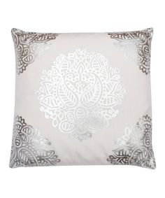 White Silver Gitana Foil Pillow//