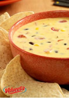 Southwest Queso Dip – In this appetizer recipe, you can easily add some Southwest zest to your traditional queso with the colorful addition of black beans and corn.