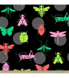 Anti-Pill Fleece Fabric-Bright Bugs